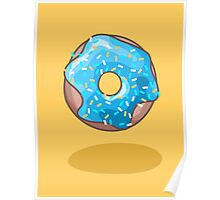 Cute Blue Donut Poster