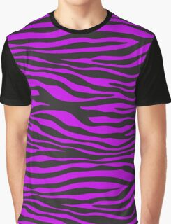 Animal Print, Zebra Stripes - Black Purple  Graphic T-Shirt