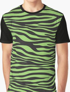 Animal Print, Zebra Stripes - Black Green  Graphic T-Shirt