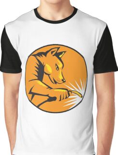 Dingo Dog Welding Circle Retro Graphic T-Shirt
