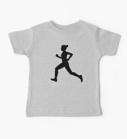 Running Girl B&W Pattern Baby Tee