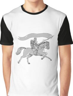Knight Riding Horse Shield Lance Flag Retro Graphic T-Shirt