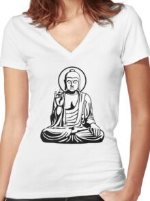 Young Buddha (black white) Women's Fitted V-Neck T-Shirt