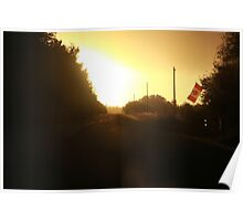 Canada Flag at Sunset Poster