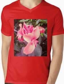 Pink Canna Lily Photo with Dew or Rain Drops Mens V-Neck T-Shirt