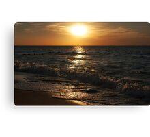sunset at the sea on autumn Canvas Print