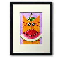 Cat with Watermelon Framed Print