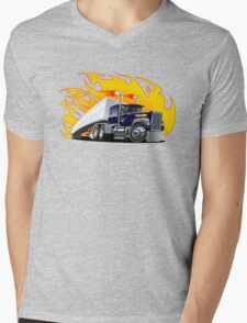 Cartoon Semi Truck Mens V-Neck T-Shirt