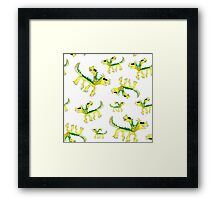 Watercolor children dragons pattern Framed Print
