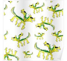 Watercolor children dragons pattern Poster