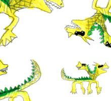 Watercolor children dragons pattern Sticker