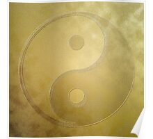 Yin and yang with gold dust Poster