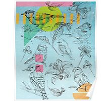 Birds, Flowers, Nature, Botanic, Blue, Sketch, Leaves Poster