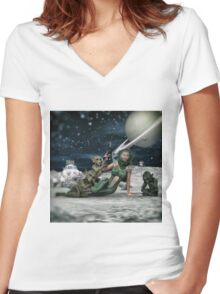Vintage Sci-Fi Women's Fitted V-Neck T-Shirt