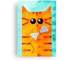 Cat and Bow Canvas Print