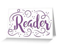 Reader (word in purple) Greeting Card