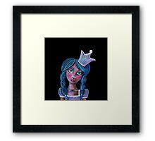 whimsical blue hair princess with crown Framed Print