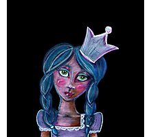 whimsical blue hair princess with crown Photographic Print