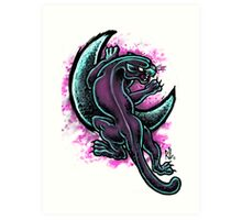 Space Purple Panther Moon Art Print