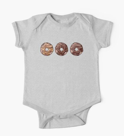 Chocolate Donuts Pattern One Piece - Short Sleeve