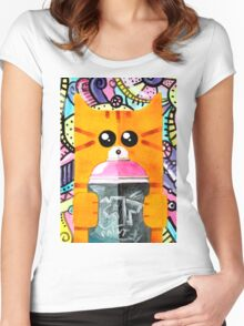 Graffiti Cat Women's Fitted Scoop T-Shirt