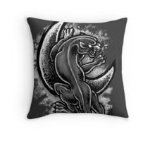 Black and White Moon Panther Throw Pillow