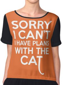 Plans With The Cat Funny Quote Chiffon Top