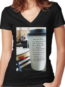 Writing on Coffee - Born of the Earth...but Made for More Women's Fitted V-Neck T-Shirt