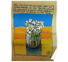 Daisies in a jar: the first rainy day Poster
