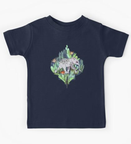 Little Elephant on a Jungle Adventure – faded vintage version Kids Tee