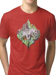 Little Elephant on a Jungle Adventure – faded vintage version Tri-blend T-Shirt