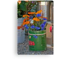 Tins Of Flowers Canvas Print