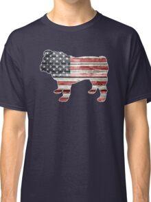 Patriotic Bulldog, American Flag Classic T-Shirt