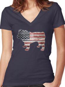 Patriotic Bulldog, American Flag Women's Fitted V-Neck T-Shirt