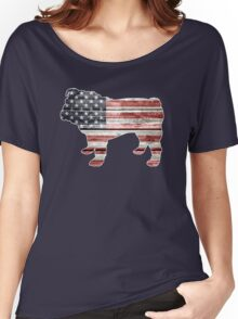 Patriotic Bulldog, American Flag Women's Relaxed Fit T-Shirt