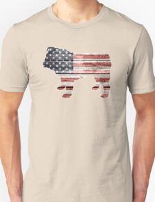 Patriotic Bulldog, American Flag Unisex T-Shirt