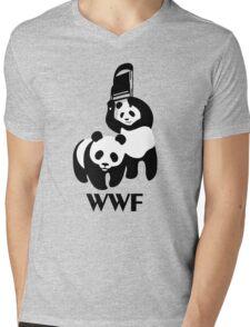 WWF Parody Panda Mens V-Neck T-Shirt