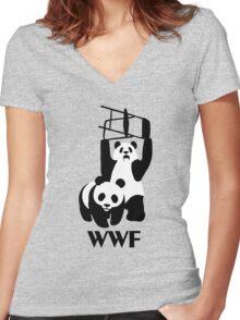 WWF Parody Panda - Tshirt Women's Fitted V-Neck T-Shirt