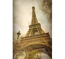 Eiffel Tower and Lamp Post Photographic Print