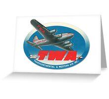 Vintage TWA Travel Tag Greeting Card