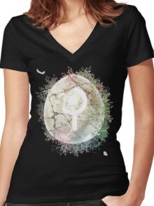 White Mage FFXIV - Seeing White Women's Fitted V-Neck T-Shirt
