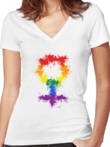 Rainbow XX Women's Fitted V-Neck T-Shirt