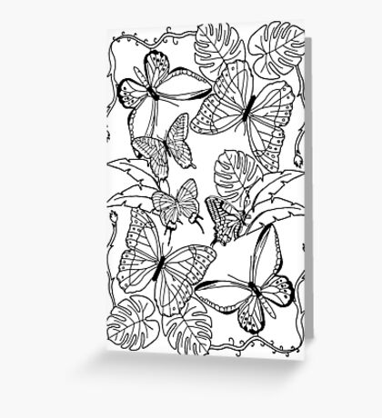 Pretty Black and White Illustration Tropical Butterflies and Leaves Greeting Card