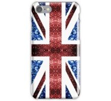 United Kingdom UK flag blue and red sparkles iPhone Case/Skin