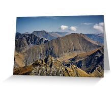 Aerial view of mountain ranges Greeting Card