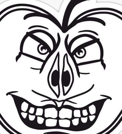 horror halloween monster face half sliced apple grin ugly grimace Sticker