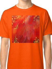 MidSummer Magik Fantasy abstract Red feathers, gold sparkles Classic T-Shirt