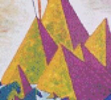 Acrylic Painting - Island Sun Abstract Sticker