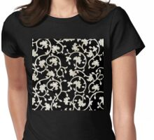Platinum Antique Baroque Damask pattern, Black background Womens Fitted T-Shirt