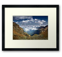 Mountains landscape with clouds Framed Print